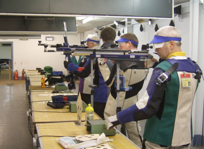 Group of air rifle shooters on the 10 metre range